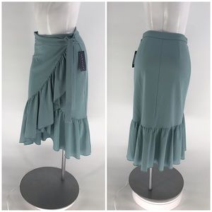 NWT DOWNEAST SKIRT Midi Wrap Blue Tie Ruffle S